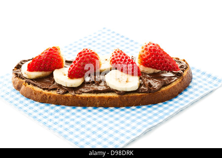 Bread With Chocolate Cream And Banana Slices Stock Photo Royalty