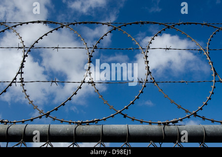 A barbed wire and razor fence against cloudy sky. - Stock Photo
