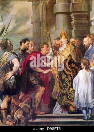Anthony van Dyck (1599 –1641)Flemish painter. Ambrosius and Emperor Theodosius, 'Saint Ambrose forbids emperor Theodosius - Stock Photo