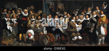 Bartholomeus van der Helst (1613-1670) Dutch portrait painter 'Banquet of the Amsterdam Civic Guard in Celebration - Stock Photo