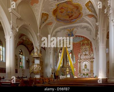 Parish Church of St. John the Baptist, Sesslach, Upper Franconia, Bavaria, Germany - Stock Photo