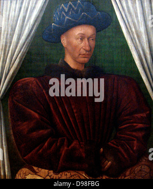 Charles VII by Jean Fouquet 1445 1450. Charles VII (Charles the Well Served), 1403–61, king of France (1422–61), - Stock Photo