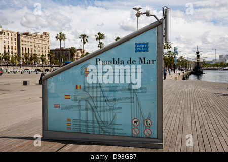 rambla de mar walkway in the old port of barcelona catalonia spain - Stock Photo