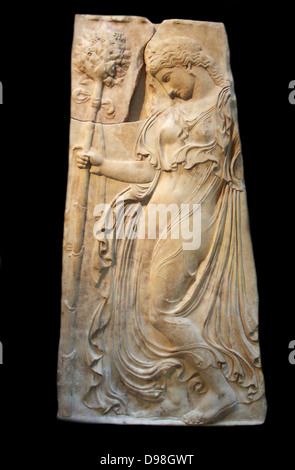 Marble relief with a dancing maenad  Roman adaptation of work attributed to Kallimachos ca. 27 B.C.–A.D. 14  Copy - Stock Photo
