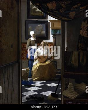 Johannes Vermeer (1632-1674) Dutch painter, the Love Letter, c. 1669–70 oil on canvas - Stock Photo