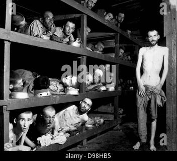 inmates of the Buchenwald concentration camp, near Weimar, Germany. - Stock Photo
