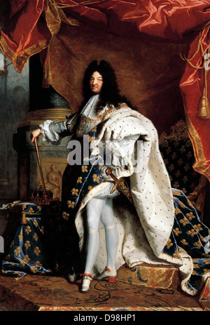 Portrait of Louis XIV King of France, 1701 by Hyacinthe Rigaud (1659–1743)  French painter - Stock Photo