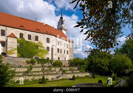 Hartenfels Castle with Hausmann Tower and rose garden, Torgau, Saxony Germany - Stock Photo