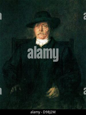 Otto von Bismarck, 1880. Painted by  Franz Seraph Lenbach (1836 - 1904). German painter. - Stock Photo