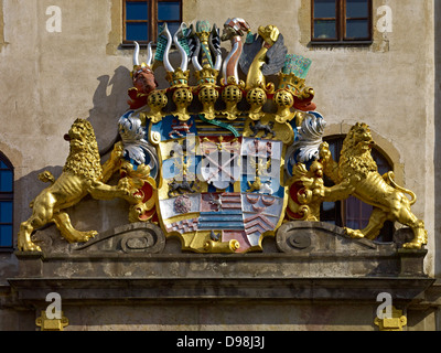 Coat of arms at entrance of Hartenfels Castle, Torgau, Saxony Germany - Stock Photo