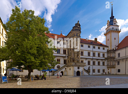 Courtyard of Hartenfels Castle with Grosser Wendelstein and Hausmann Tower, Torgau, Saxony Germany - Stock Photo