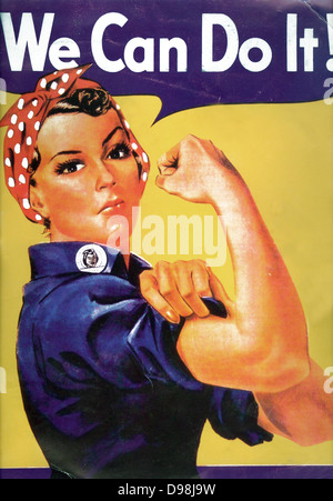 Rosie the Riveter, 1942 World War II Poster. We Can Do It! Vintage World War II poster by J. Howard Miller. Rosie - Stock Photo
