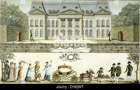 View of Chateau of Meudon from the garden, top. Below: King of Rome (Napoleon II of France, Duke of Reichstadt 1811 - Stock Photo