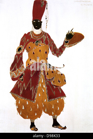Costume design by Leon Bakst (1866-1924) for the Eunuch in 'Scheherazade' produced in 1910 by Sergei Diaghilev's - Stock Photo
