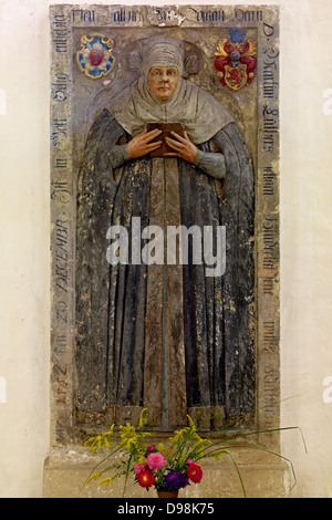 Grave stone of Katharina von Bora in City Church St. Mary in Torgau, Saxony, Germany - Stock Photo