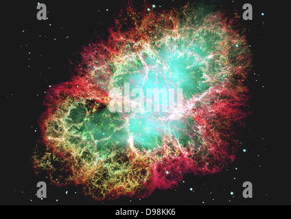 mosaic image, one of the largest ever taken by NASA's Hubble Space Telescope of the Crab Nebula, a six-light-year - Stock Photo