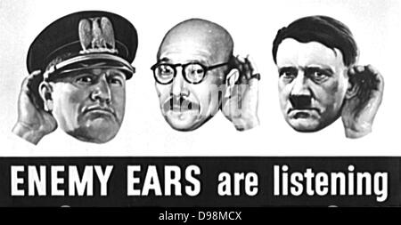 Office of War Information poster (OWI). 1943 US World War II poster referring to 'Enemy ears are listening'. Portraits - Stock Photo