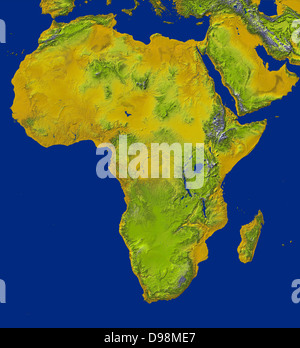shaded relief image shows the extent of digital elevation data for Africa recently released by the Shuttle Radar - Stock Photo