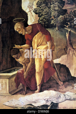 St Philip the Apostle Baptising the Eunuch'(detail) Oil on wood. Jan van Scorel (1495-1562) Dutch painter. Supposed - Stock Photo