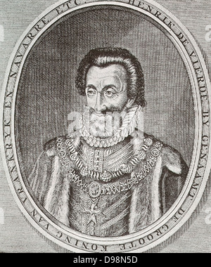 Henry IV of France (1553-1610) was King of France from 1589 to 1589 and King of Navarre from 1572-1610.  He was - Stock Photo