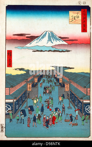 Suroga-Cho: from 'One Hundred Famous View of Edo', 1856. Utagawa Hiroshige (1797-1858) Ukiyo-e artist. Street scene - Stock Photo