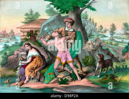 Daniel Boone (1734-1820) American pioneer, hunter, frontiersman, and folk hero. Boone in buckskins, defending his - Stock Photo