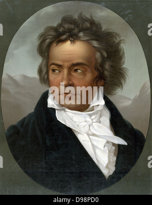 Ludwig van Beethoven (1770-1827) German composer and pianist whose music was transitional between the Classical - Stock Photo