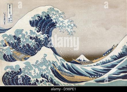 The Great Wave off the coast at Kanagawa, c1830. From 'Thirty-six Views of Mount Fuji', c1831. Katsushika Hokusai - Stock Photo