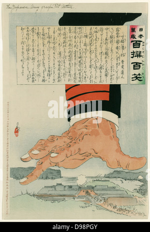 Russo-Japanese War 1904-1905: A huge Japanese hand crushing Port Arthur (Lushun) 25 July 1904. Russia finally surrendered - Stock Photo