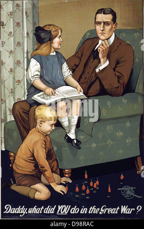 Daddy, what did YOU do in the Great War?. First World War (1914-1918) British propaganda recruitment poster. Man - Stock Photo