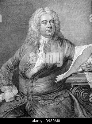 George Frederic Handel (1685-1759) German-born English Baroque composer. Portrait engraving from Thomas Arne's edition - Stock Photo