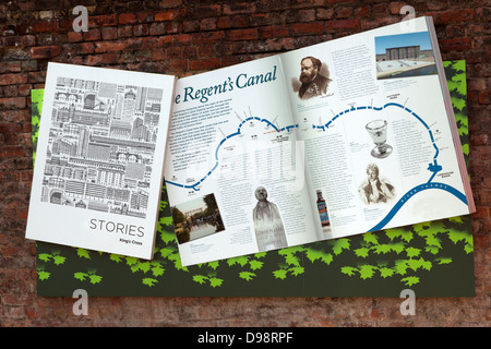 Artistic tourist map of the Regent's Canal showing points of interest along the way - Stock Photo