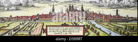 Panoramic view of the city of Munster, Germany, from the south-west, c1570. Twin towers in centre are St Paul's - Stock Photo