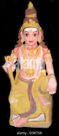 The Hindu god Shiva  represented in a small statuette figure, from early 20th Century India. - Stock Photo