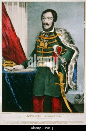Lajos Kossuth (1802-1894), Hungarian hero. Lawyer, journalist and freedom fighter. Currier & Ives hand-coloured - Stock Photo