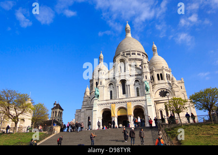 The Basilica of the Sacred Heart of Paris, commonly known as Sacré-Cœur Basilica, Paris, France. - Stock Photo