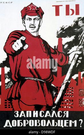 Did You Volunteer?', 1920. Soviet propaganda poster by Dmitry Moor (Orlov). Russia USSR Communism Communist - Stock Photo