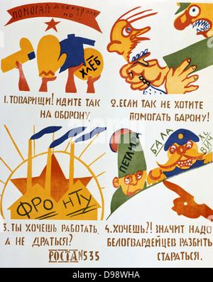 Volunteers', 1920. Soviet propaganda poster by Vladimir Maykovsky. Soviet Russia USSR Communism Communist - Stock Photo