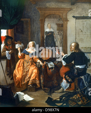 A Music Party', 1659. Gabriel Metsu (1629-1667) Dutch painter. Dutch interior with woman with lute showing music - Stock Photo