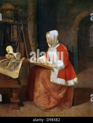 A Woman seated Drawing'. Gabriel Metsu (1629-1667) Dutch painter. The scene illustrates the early stage of an artist's - Stock Photo
