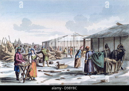 Frozen Food Market', 1821. 'Russian Manners and Customs'. Coloured lithograph. Commerce Trade Winter Snow Ice Transport - Stock Photo
