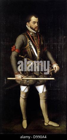 Anthonis  Mor Van Dashorst, Portrait of Philip II in Armour 1557 Oil on canvas, 186 x 82 cm Monasterio de San Lorenzo, - Stock Photo