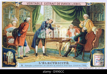 History of Electricity: Ramsden demonstrating his static electric machine in a fashionable household, 1766. Liebig - Stock Photo
