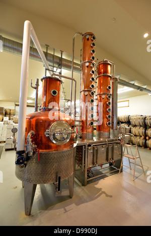 Artisan crafted still at the Stein Distillery in Joseph, Oregon. - Stock Photo