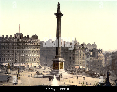 Trafalgar Square viewed from the National Gallery, London, England, 1890-1900. Nelson's Column in the centre with - Stock Photo