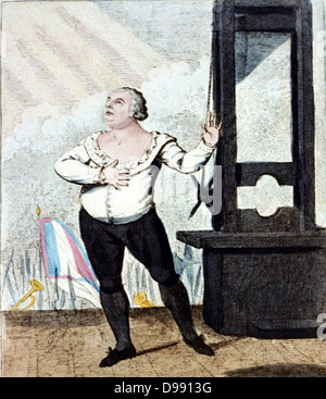 The martyrdom of Louis XVI , King of France -I forgive my enemies, I die innocent!!!' Isaac Cruikshank, 1798. Louis - Stock Photo