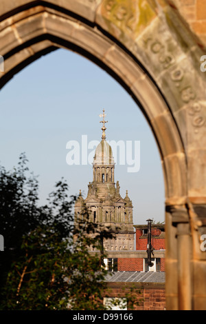 Glasgow City Chambers dome viewed through Rottenrow Arch in Glasgow, Scotland, UK - Stock Photo