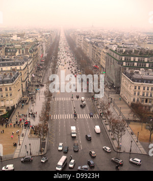 Champs Elysees view from the top of the Arc de Triomphe in Paris - Stock Photo