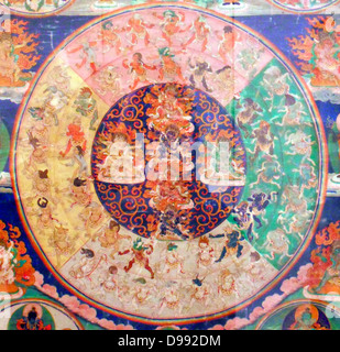 On this thanka deities gathered to look fierce apparraissent that the deceased during the bardo. 19th Mandala canvas - Stock Photo