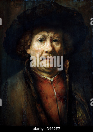 Self Portrait', 1637. Oil on canvas. Rembrandt van Rijn (1606–1669) Dutch painter. Head-and-shoulders image with - Stock Photo